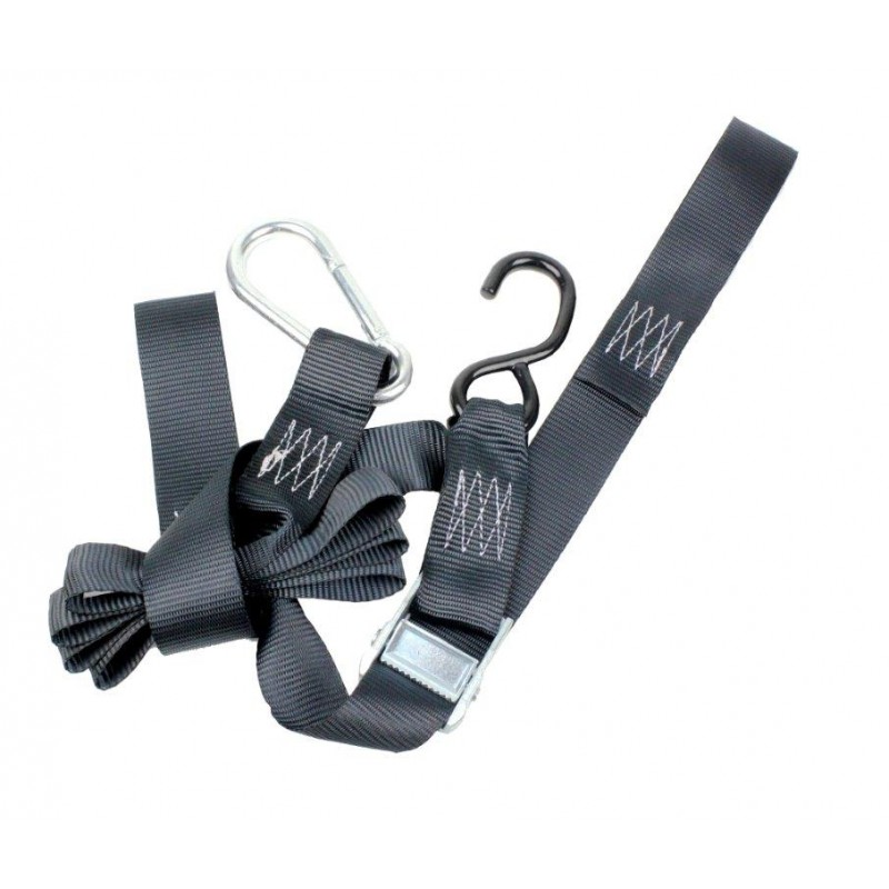 "275-CT04ST2PB Tie Downs-Black-1 & 1/2""-with Caribiner"